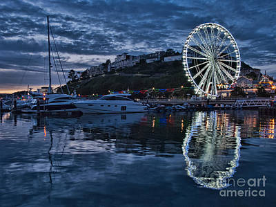 Torquay Marina And The Big Wheel Art Print by Ann Garrett