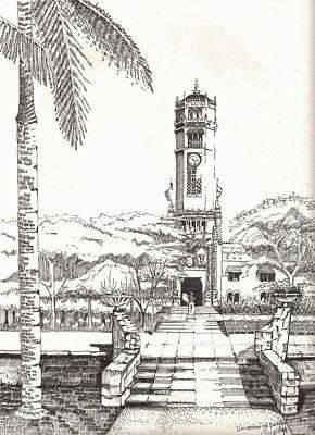 The Main Drawing - Torre De La Universidad De Puerto Rico by Juan  Salazar