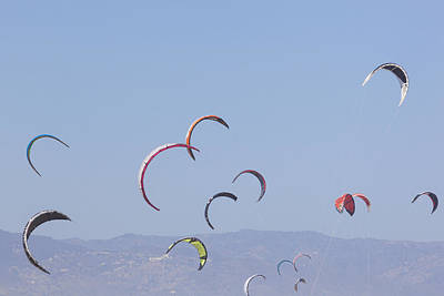 Torremolinos, Spain  Kite Surfing Art Print by Ken Welsh
