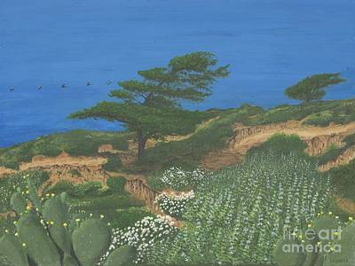 Painting - Torrey Pines And Pelicans by L J Oakes
