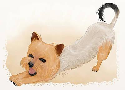Tiny Dog Digital Art - Totchi Stretching by Joana Silva