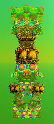 Green Color Digital Art - Totem Pete by Betsy Knapp