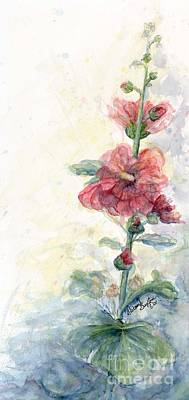 Touch Of Summer Hollyhocks Watercolor Art Print