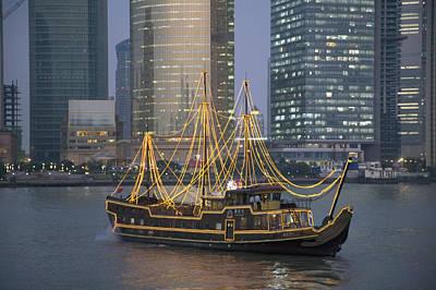 Bund Shanghai Photograph - Tour Boat On The Huangpu River by Scott S. Warren