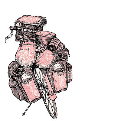 Illustrate Drawing - Touring Bicycle by Karl Addison