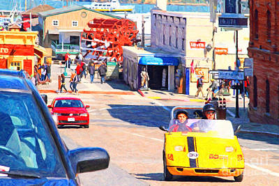 Touring San Fracisco Fishermans Wharf In An Electric Gocar . 7d14100 Art Print by Wingsdomain Art and Photography