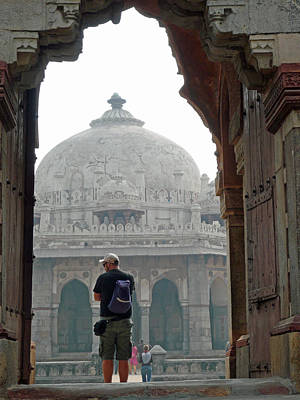 Tourist Framed In Archway While Photographing The Humayun Tomb Art Print by Ashish Agarwal