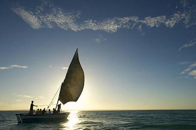 Tourists On A Dhow Sailing Art Print