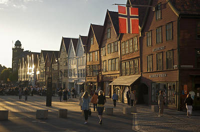 Tourists Walking In A Street In Bergen Print by Michael Melford