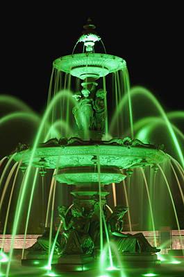 Tourny Fountain Illumination By Green Art Print