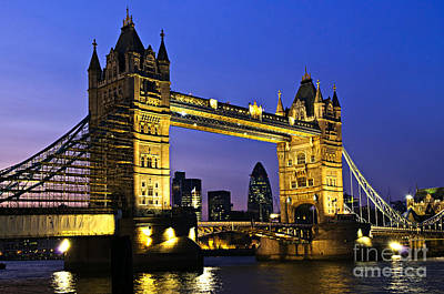 Gothic Bridge Photograph - Tower Bridge In London At Night by Elena Elisseeva