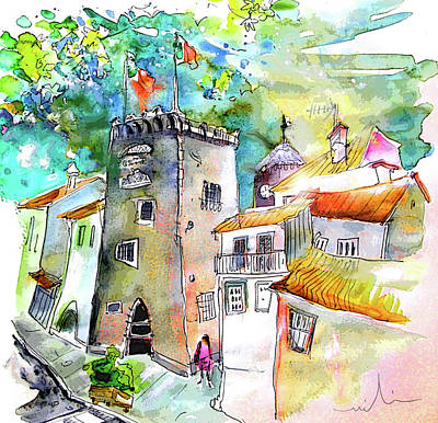 Impressionism Drawings - Tower in Ponte de Lima in Portugal by Miki De Goodaboom