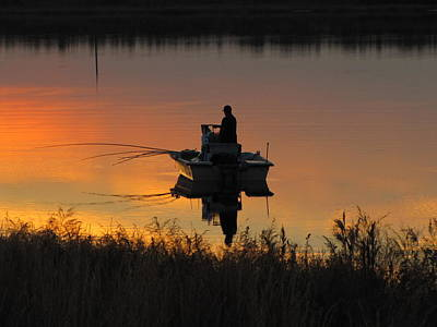 Photograph - Tower Lake Lone Fisherman by RobLew Photography
