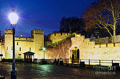 Lamppost Photograph - Tower Of London Walls At Night by Elena Elisseeva