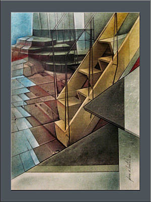 Drawing - Towerstairscape 2002  by Glenn Bautista