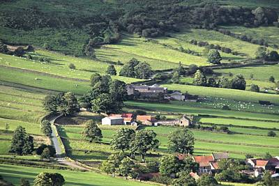 Arial View Photograph - Town On Hillside, North Yorkshire by John Short