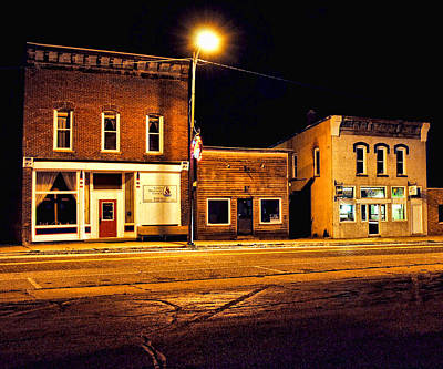 Town Street At Night Art Print