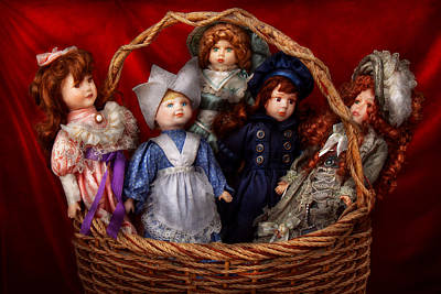 Toy - Dolls - A Basket Of Victorian Dolls  Art Print by Mike Savad
