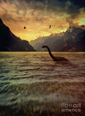 Photograph - Toy Dinosaur In Lake  by Sandra Cunningham