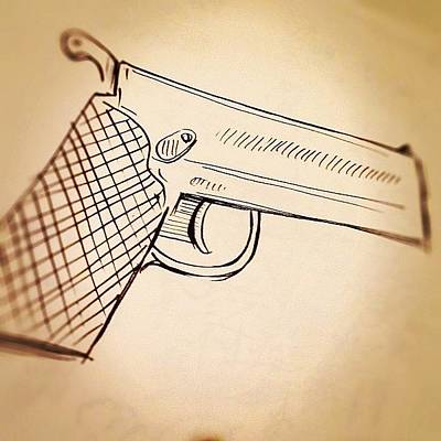 Brush Wall Art - Photograph - #toy #gun #sketch by Jeff Reinhardt
