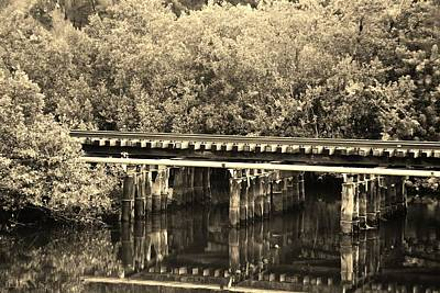 Photograph - Track On The River In Sepia by Rob Hans