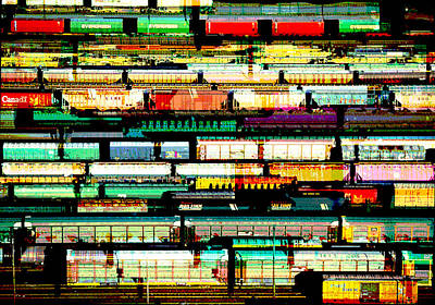 Abstract Digital Painting - Tracks Of Trains by Elaine Plesser