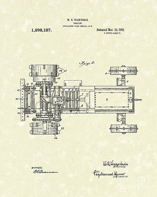 Tractor Drawing - Tractor 1919 Patent Art by Prior Art Design