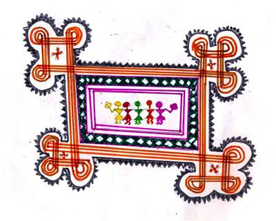 Tradition Art-aunties In Rangoli Art Print by Poornima M