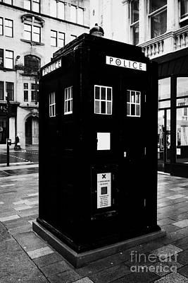 traditional blue police callbox in merchant city glasgow Scotland UK Art Print by Joe Fox