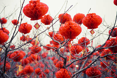 Traditional Chinese Lanterns Art Print by Eastphoto