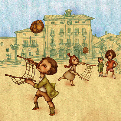 Traditional Game 2 Art Print by Autogiro Illustration