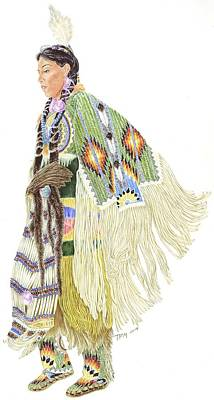 Beadwork Drawing - Traditional Lady Dancer by Tim McCarthy