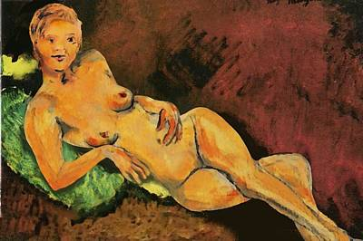 Art Print featuring the painting Traditional Modern Female Nude Reclining by G Linsenmayer