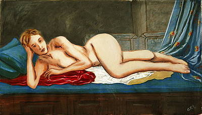 Art Print featuring the painting Traditional Modern Female Nude Reclining Odalisque After Ingres by G Linsenmayer