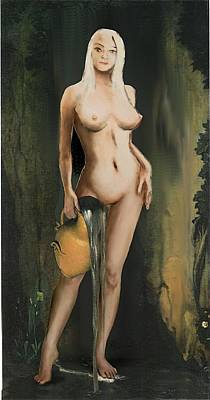 Traditional Modern Female Nude Standing Art Print by G Linsenmayer