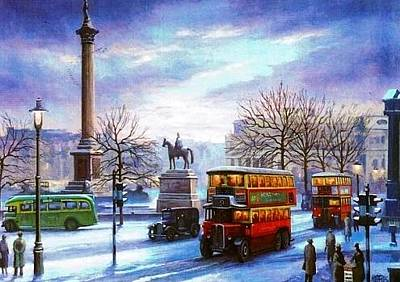 Streetscenes Painting - Trafalgar Square 1938 by Mike  Jeffries