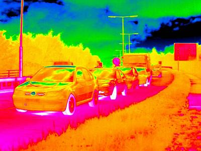 Carriageway Photograph - Traffic Jam, Thermogram by Tony Mcconnell