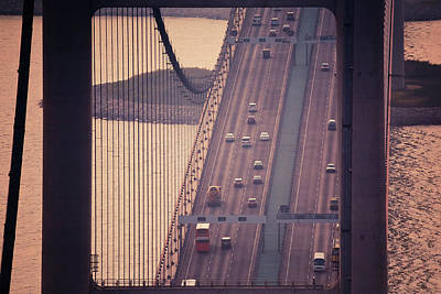 Traffic On Tsing Ma Bridge, Hong Kong, China Art Print by Yiu Yu Hoi