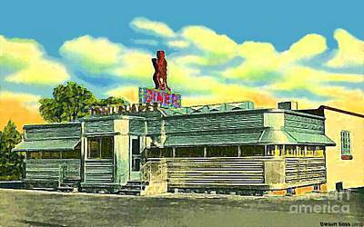 Painting - Trailblazer Diner In Trenton N J In The 1940's by Dwight Goss
