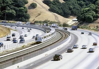 Train And Motorway, California, Usa Art Print by Martin Bond