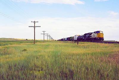 Train And Poles Art Print by Trent Mallett