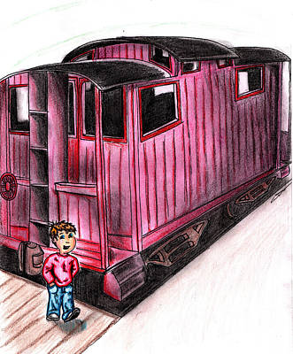 Caboose Drawing - Train Child Caboose by Scott Smith