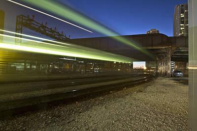 Train Creates Green Streaks Of Light Art Print by Sven Brogren
