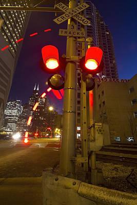 Train Crossing Lights At Dusk Art Print by Sven Brogren