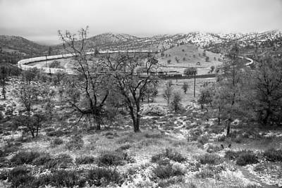 Photograph - Train Loop Snow Black And White by Connie Cooper-Edwards