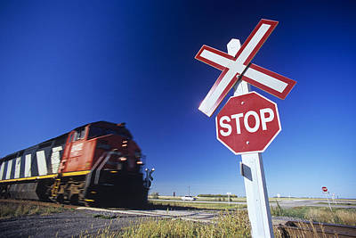Stop Sign Photograph - Train Passing Railway Crossing by Dave Reede