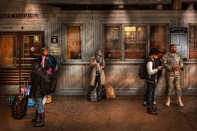 Train - Station - Waiting For The Next Train Art Print by Mike Savad