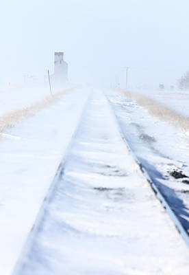 Train Tracks And Grain Elevator In Blizzard Saskatchewan  Art Print