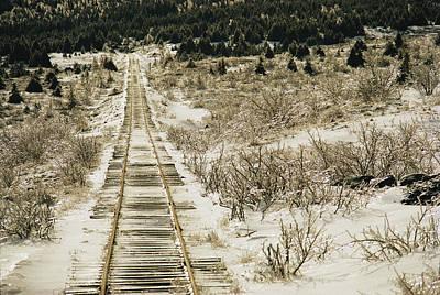 Train Tracks In The Snow Art Print