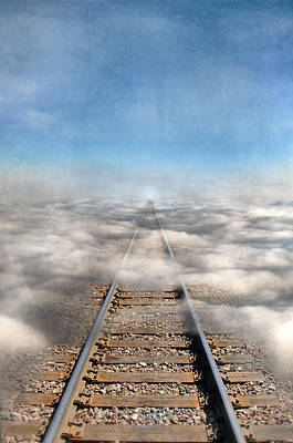 Train Tracks Into The Clouds Print by Jill Battaglia